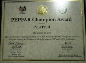 PEPFAR Award Certificate